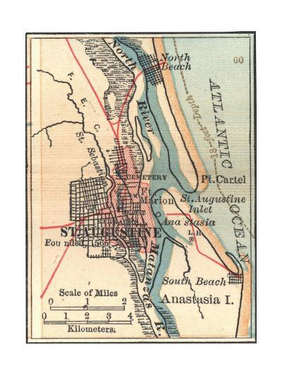 Map St Augustine Florida.Inset Map Of St Augustine Florida Giclee Print By Encyclopaedia
