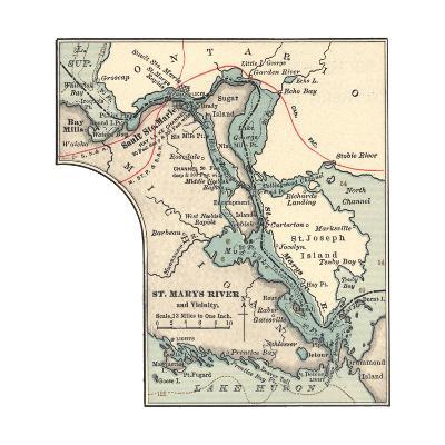 Inset Map of St. Marys River and Vicinity, with Sault Ste-Encyclopaedia Britannica-Giclee Print
