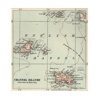 Inset Map of the Channel Islands. Guernsey; Jersey; United Kingdom-Encyclopaedia Britannica-Giclee Print