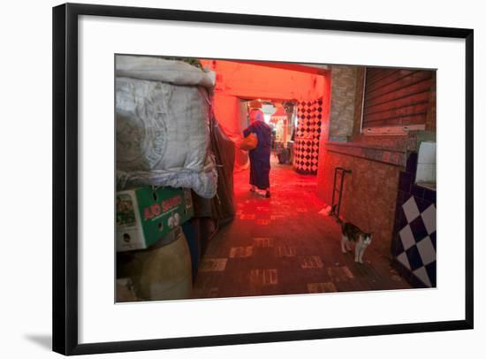 Inside a Moroccan Marketplace, a Woman Passes a Cat While Carrying Groceries-Eric Kruszewski-Framed Photographic Print