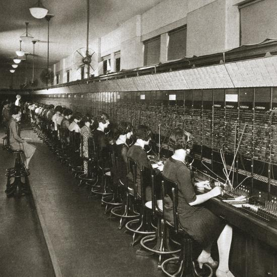 Inside a New York telephone exchange, USA, early 1930s-Unknown-Photographic Print