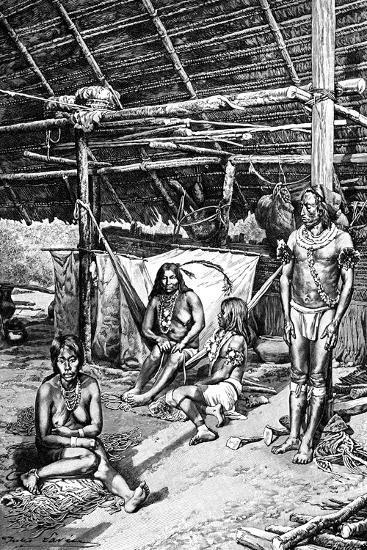 Inside a Ticuna Hut, South Ameriica, 1895--Giclee Print