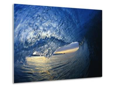 Inside Breaking Ocean Wave-David Pu'u-Metal Print