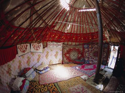 Inside Kazakhs Yurt, Tianchi (Heaven Lake), Tien Shan, Xinjiang Province, China-Anthony Waltham-Photographic Print
