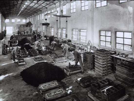 Inside of a Ferrari Factory with Some Workers-A^ Villani-Photographic Print