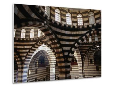 Inside Striped Domes of Khan Assad Pasha Built Between 1751-53, Old City, Damascus, Syria-Mark Daffey-Metal Print