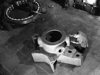 Inspecting a Large Precision Steel Casting, Sheffield, South Yorkshire, 1961-Michael Walters-Photographic Print