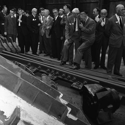 Inspecting a Tram Junction, Made at the Edgar Allen Steel Foundry, Meadowhall, Sheffield, 1962-Michael Walters-Photographic Print