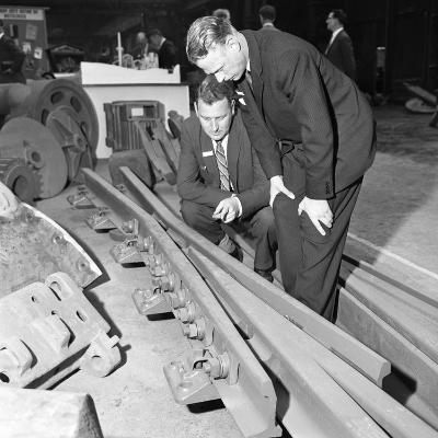 Inspecting a Tram Junction Made at the Edgar Allen Steel Foundry, Meadowhall, Sheffield, 1962-Michael Walters-Photographic Print