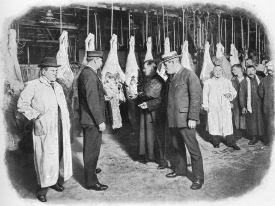 Inspecting meat at Smithfield Market, City of London, c1903 (1903)-Unknown-Photographic Print