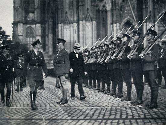'Inspection of troops at the foot of Cologne Cathedral', 1919, (1945)-Unknown-Photographic Print