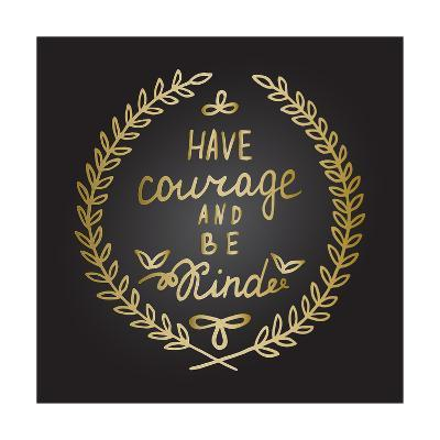 Inspiration Quote in Gold Laurel Leaves Frame-ZenFruitGraphics-Art Print