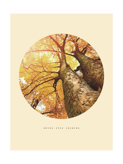 Inspirational Circle Design - Autumn Trees: Never Stop Growing-Subbotina Anna-Giclee Print