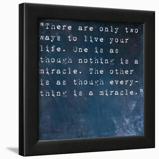 Inspirational Quote By Albert Einstein On Earthy Blue Background-nagib-Framed Art Print
