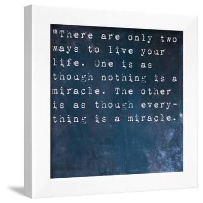 Inspirational Quote By Albert Einstein On Earthy Blue Background-nagib-Framed Art Print