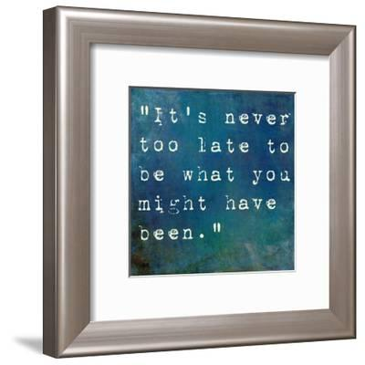 Inspirational Quote By George Eliot On Earthy Blue Background-nagib-Framed Premium Giclee Print