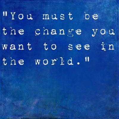 Inspirational Quote By Mahatma Ghandi On Earthy Blue Background-nagib-Art Print