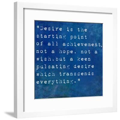 Inspirational Quote By Napoleon Hill On Earthy Blue Background-nagib-Framed Premium Giclee Print