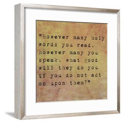 Inspirational Quote By Siddhartha Gautama (The Buddha) On Earthy Background-nagib-Framed Premium Giclee Print