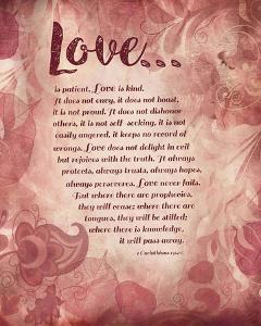 Corinthians 13:4-8 Love is Patient - Pink Floral by Inspire Me
