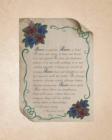 Corinthians 13:4-8 Love is Patient - Rose Border Beige