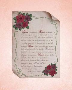Corinthians 13:4-8 Love is Patient - Rose Border Pink by Inspire Me
