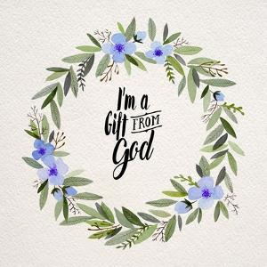 I'm A Gift From God Blue Flower Wreath by Inspire Me