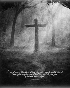 Jeremiah 29:11 For I know the Plans I have for You (Black & White Cross) by Inspire Me