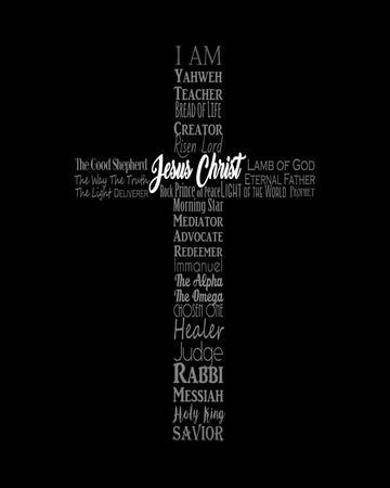 Names of Jesus Cross Silhouette Black