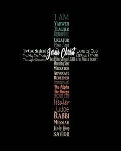 Names of Jesus Cross Silhouette Green Ombre by Inspire Me