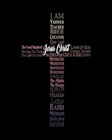Names of Jesus Cross Silhouette Pink Ombre
