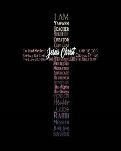 Names of Jesus Cross Silhouette Pink Ombre by Inspire Me