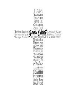 Names of Jesus Cross Silhouette White by Inspire Me