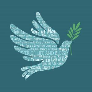 Names of Jesus Dove Silhouette Blue by Inspire Me