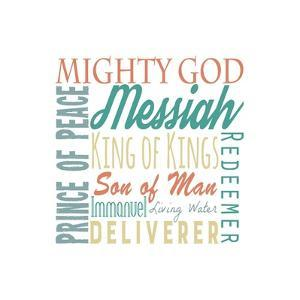 Names of Jesus Square Green and Orange Text - White by Inspire Me