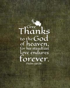 Psalm 136:26, Give Thanks (Olive Border) by Inspire Me