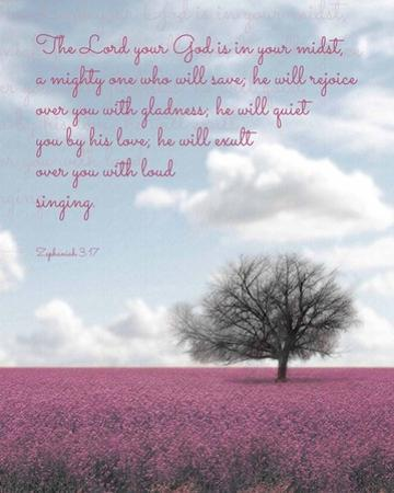 Zephaniah 3:17 The Lord Your God (Colored Landscape) by Inspire Me
