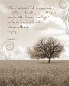 Zephaniah 3:17 The Lord Your God (Grey Landscape) by Inspire Me
