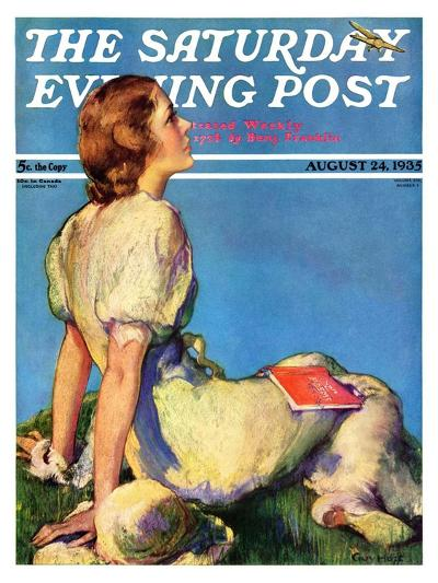 """""""Inspired by Poetry,"""" Saturday Evening Post Cover, August 24, 1935-Guy Hoff-Giclee Print"""