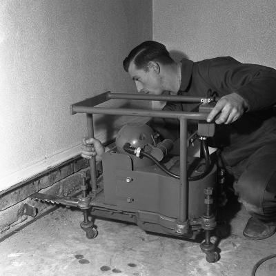 Installing a Damp Proof Course in a House in Goldthorpe, South Yorkshire, 1957-Michael Walters-Photographic Print