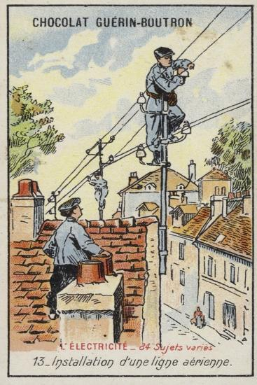 Installing an Overhead Power Line--Giclee Print