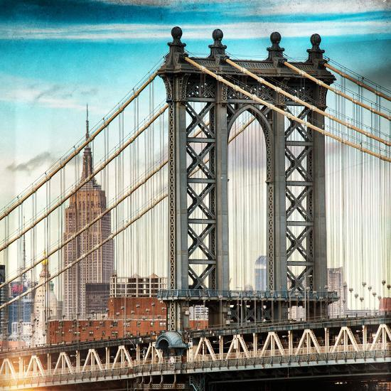 Instants of NY Series - Manhattan Bridge with the Empire State Building from Brooklyn Bridge-Philippe Hugonnard-Photographic Print
