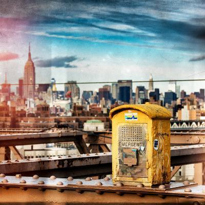 Instants of NY Series - Police Emergency Call Box on Walkway of Brooklyn Bridge-Philippe Hugonnard-Photographic Print