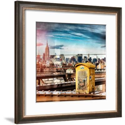 Instants of NY Series - Police Emergency Call Box on Walkway of Brooklyn Bridge-Philippe Hugonnard-Framed Photographic Print