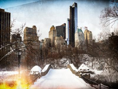 Instants of NY Series - Snowy Gapstow Bridge of Central Park, Manhattan in New York City-Philippe Hugonnard-Photographic Print