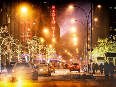 Instants of NY Series - Street Scenes and Urban Night Landscape in Winter under the Snow-Philippe Hugonnard-Photographic Print