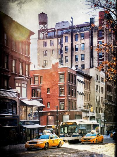 Instants of NY Series - Urban Street Scene with Yellow Taxi in Winter-Philippe Hugonnard-Photographic Print