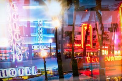 Instants of Series - Art Deco Architecture of Ocean Drive by Night - Miami Beach - Florida-Philippe Hugonnard-Photographic Print