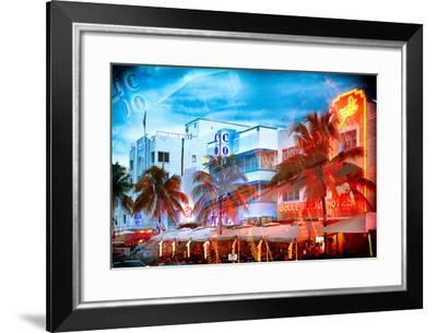 Instants of Series - Colorful Ocean Drive - South Beach - Miami Beach Art Deco Distric - Florida-Philippe Hugonnard-Framed Photographic Print