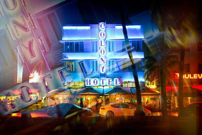 Instants of Series - Miami Beach Art Deco District - The Colony Hotel by Night - Ocean Drive - Flor-Philippe Hugonnard-Photographic Print